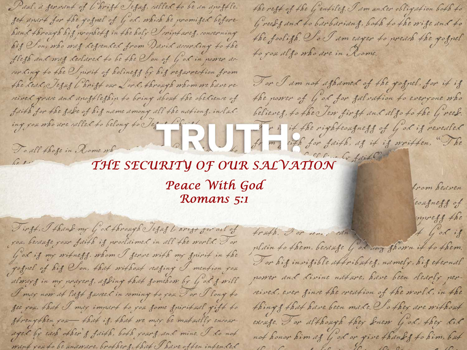 Romans 5:1 Security of Salvation – Peace With God