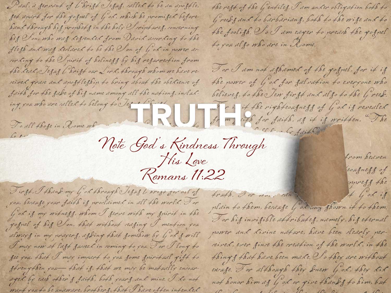 Romans 11:22 Note Gods Kindness Through His Love